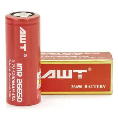 AWT IMR 26650 5200MAH 45A 3.7V ion batteries 2-Pack