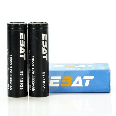 EBAT IMR 18650 2500mah 40A battery | 2-Pack | flat top ion rechargeable batteries
