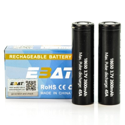 EBAT IMR 18650 2600mah 45A battery | 2-Pack | flat top ion rechargeable batteries