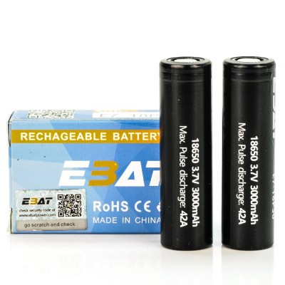 EBAT IMR 18650 3000mah 42A battery | 2-Pack | flat top ion rechargeable batteries