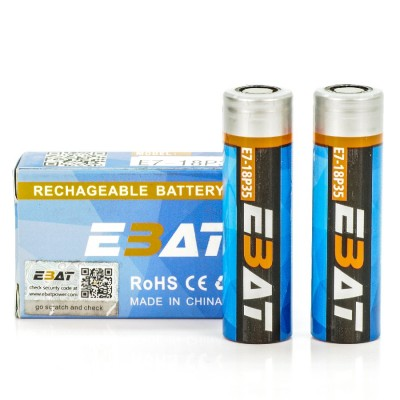 EBAT IMR 18650 3500mah 30A battery | 2-Pack | flat top ion rechargeable batteries