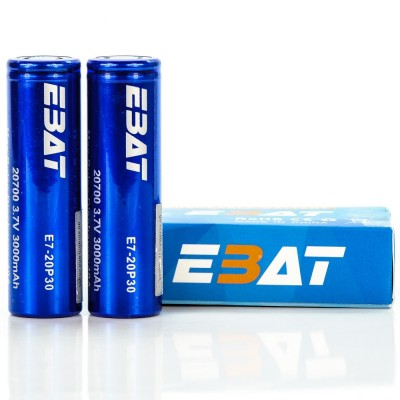 EBAT IMR 20700 3000mah 40A batteries | 2-Pack | flat top ion rechargeable battery