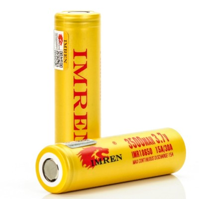 Imren IMR 18650 3500mah 15/30A 3.7V batteries | 2-Pack | flat top high drain li-ion rechargeable battery