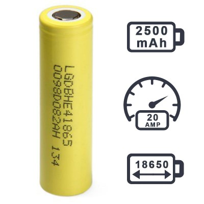 LG HE4 18650 2500MAH 3.7V 35A high drain rechargeable battery LGDBHE41865