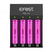 Efest Pro C4 4-bay lithium Ion smart battery charger | for lithium or hybrid batteries 18500 18650 21700 26650 and more