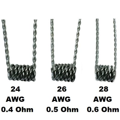 Pre-Made Twisted Kanthal Coil for RDA/RBA DIY | Pack of 5 With 100% Organic Cotton | 24, 26, 28 AWG